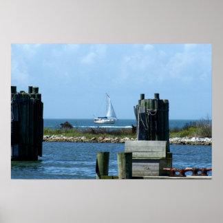 Sailboat leaving Silver Lake on Ocracoke Island Poster