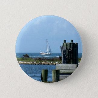 Sailboat leaving Silver Lake Pinback Button