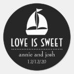Sailboat Love Is Sweet Labels (Black) Sticker