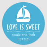 Sailboat Love Is Sweet Labels (Blue) Round Stickers