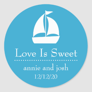 Sailboat Love Is Sweet Labels (Blue) Classic Round Sticker