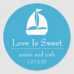 Sailboat Love Is Sweet Labels (Blue) Stickers