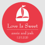 Sailboat Love Is Sweet Labels (Red) Round Stickers