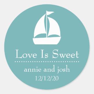 Sailboat Love Is Sweet Labels (Sea Foam Green)