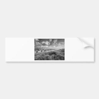 Sailboat Marina and Lush Grasslands Black White Bumper Sticker