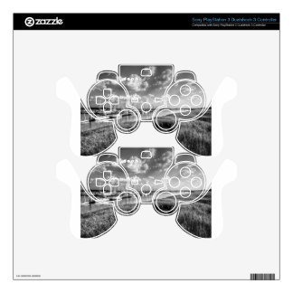 Sailboat Marina and Lush Grasslands Black White Decal For PS3 Controller