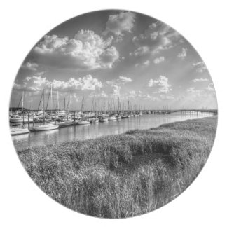 Sailboat Marina and Lush Grasslands Black White Melamine Plate