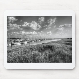 Sailboat Marina and Lush Grasslands Black White Mouse Pad
