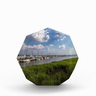 Sailboat Marina and Lush Green Grassland Acrylic Award