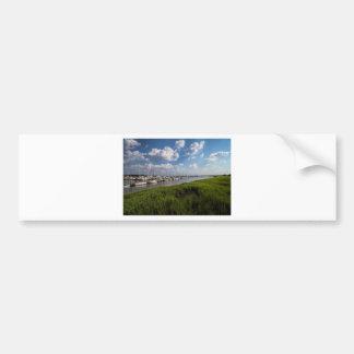 Sailboat Marina and Lush Green Grassland Bumper Sticker