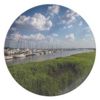 Sailboat Marina and Lush Green Grassland Dinner Plate