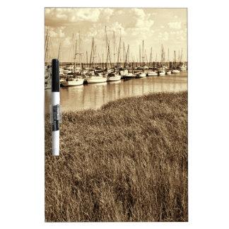 Sailboat Marina in Sepia Tones Dry-Erase Board
