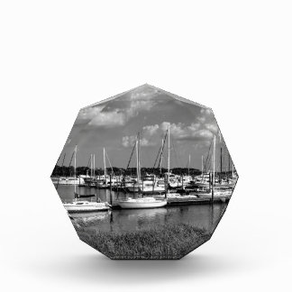 Sailboat Marina Landscape in Black and White Acrylic Award