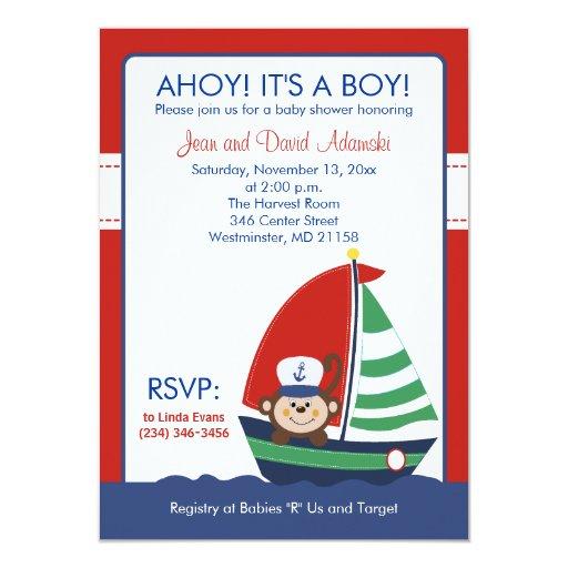Sailboat Monkey Invitation 4.5 x 6.25