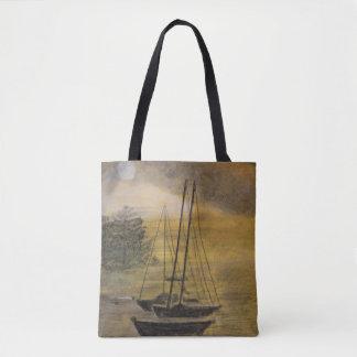 Sailboat Moored in Bay - Bay Tote Bag