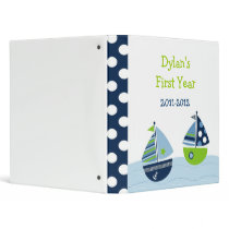 Sailboat Nautical Baby Photo Album Scrapbook 3 Ring Binder