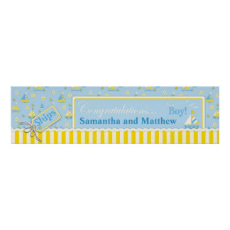 Sailboat Nautical Baby Shower Banner Poster