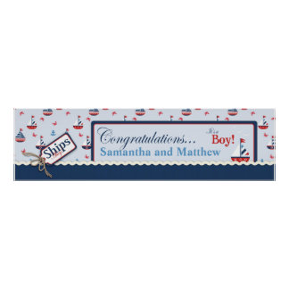 Sailboat Nautical Baby Shower Banner Posters