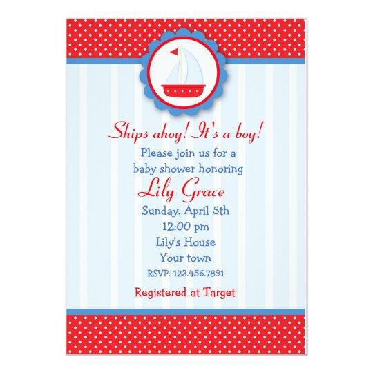 Sailboat Nautical baby shower invitations