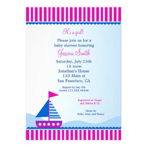 sailboat nautical baby shower invitations 5 x 7 invitation card