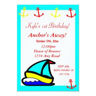 Sailboat Nautical Birthday 5x7 Paper Invitation Card