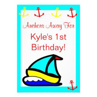 Sailboat Nautical Birthday Personalized Invitations