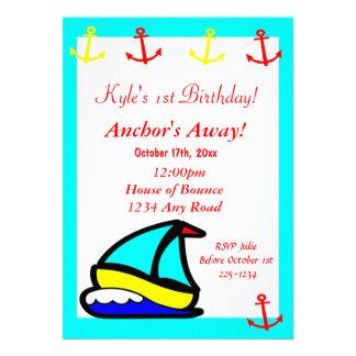 Sailboat Nautical Birthday Custom Announcement