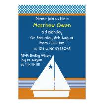sailboat Nautical Birthday Party Invitation