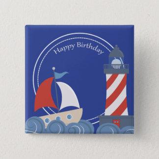 Sailboat Nautical Happy Birthday Square Button