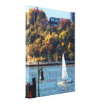 Sailboat Near Chelsea Pier Gallery Wrapped Canvas