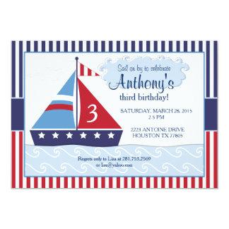 "Sailboat/Nuatical Birthday Invitation 5"" X 7"" Invitation Card"