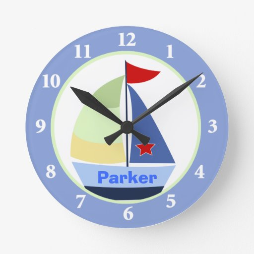 Sailboat Nursery Room Custom Wall Clock