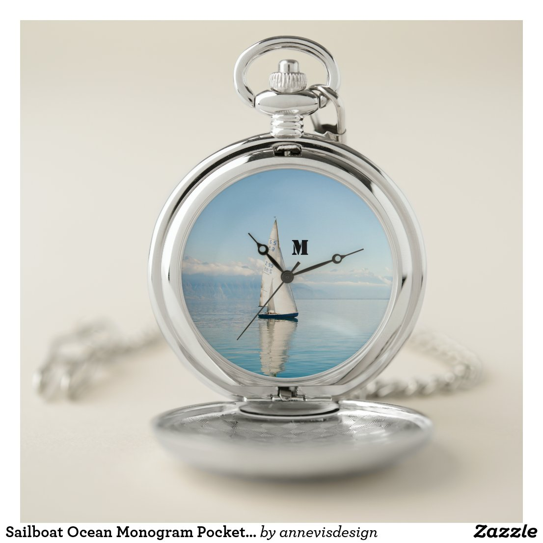 Sailboat Ocean Monogram Pocket Watch
