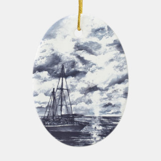 Sailboat oil painting art ceramic ornament