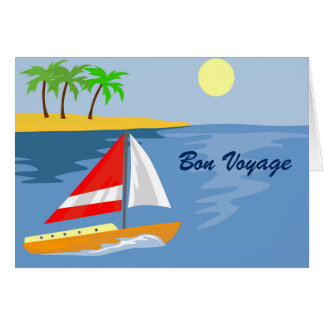 SAILBOAT ON ISLAND BON VOYAGE CARD