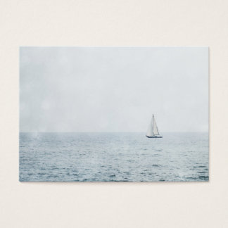 Sailboat on Misty Blue Ocean Sail Boat Sailing Business Card