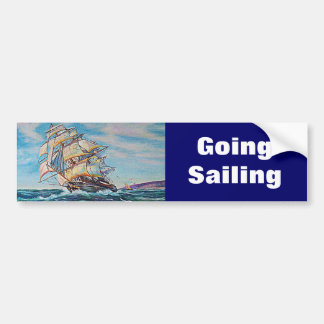 Sailboat on Rough Waters Oil Painting Car Bumper Sticker