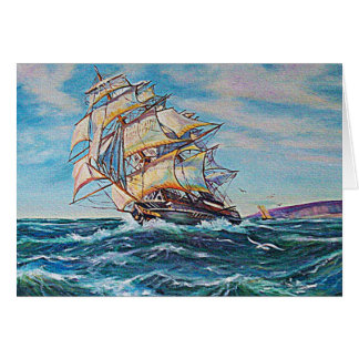 Sailboat on Rough Waters Oil Painting Card