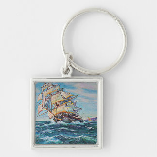 Sailboat on Rough Waters Oil Painting Key Chain