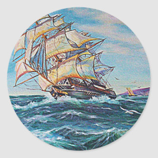Sailboat on Rough Waters Oil Painting Round Sticker