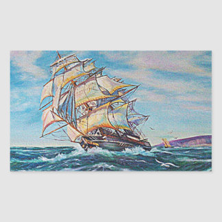 Sailboat on Rough Waters Oil Painting Rectangle Stickers