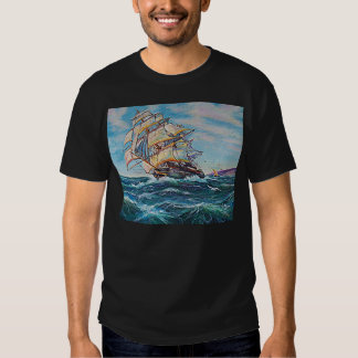 Sailboat on Rough Waters Oil Painting T-shirt