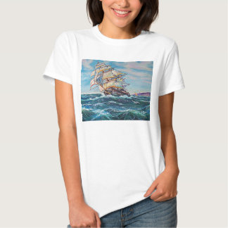 Sailboat on Rough Waters Oil Painting T Shirt