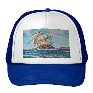 Sailboat on Rough Waters Oil Painting Trucker Hat
