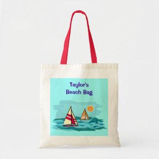 Sailboat on Sea Blue Ocean Wave Custom Name Beach Tote Bag