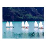 sailboat on the lake postcard