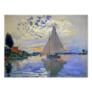 Sailboat on the Seine River Poster Poster
