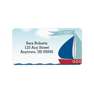 Sailboat on Water It's A Boy, Nautical Baby Shower Address Label
