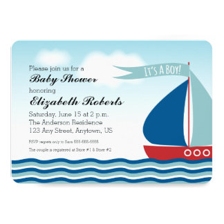 Sailboat on Water It's A Boy, Nautical Baby Shower Card