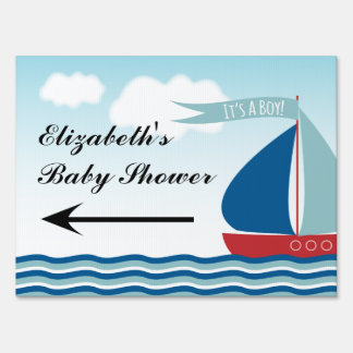 Sailboat on Water It's A Boy, Nautical Baby Shower Lawn Sign